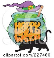 Royalty Free RF Clipart Illustration Of A Happy Halloween Greeting On A Witch Cauldron With A Black Cat