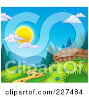 Royalty Free RF Clipart Illustration Of A Path Leading Through A Meadow At The Edge Of A Forest by visekart