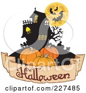 Royalty Free RF Clipart Illustration Of A Halloween Banner Under Pumpkins And A Haunted House With Bats