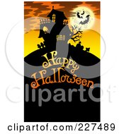 Royalty Free RF Clipart Illustration Of A Haunted Mansion With Bats And A Full Moon Over Happy Halloween Text 5
