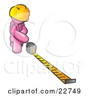 Clipart Illustration Of A Pink Man Contractor Wearing A Hardhat Kneeling And Measuring