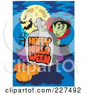 Royalty Free RF Clipart Illustration Of A Vampire Looking Around A Happy Halloween Greeting On A Tombstone Under A Full Moon