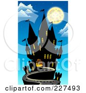 Royalty Free RF Clipart Illustration Of A Full Moon Above A Dark Castle