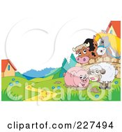 Royalty Free RF Clipart Illustration Of A Horse And Cow Looking Over A Fence At A Piggy In Mud And Sheep