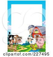 Royalty Free RF Clipart Illustration Of A Cow Duck Sheep And Pig By A Silo And Barn Border Frame by visekart