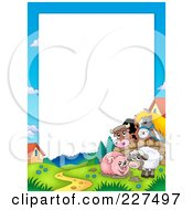Royalty Free RF Clipart Illustration Of A Horse And Cow Looking Over A Fence At A Pig In Mud And Sheep Border Frame