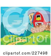 Royalty Free RF Clipart Illustration Of A Path Leading To A Barn And Silo