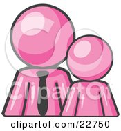 Clipart Illustration Of A Pink Child Or Employee Standing Beside A Bigger Blue Businessman Symbolizing Management Parenting Or Mentorship by Leo Blanchette