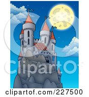 Royalty Free RF Clipart Illustration Of A Full Moon Above A Castle On A Hill