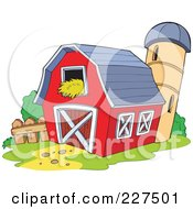 Royalty Free RF Clipart Illustration Of A Red Barn By A Silo