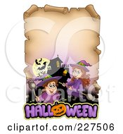 Royalty Free RF Clipart Illustration Of An Aged Parchment Page With Witches A Haunted House And Halloween Text