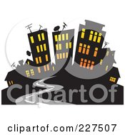 Royalty Free RF Clipart Illustration Of A Road Leading To A City With Lights Shining Through The Windows