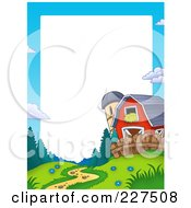 Royalty Free RF Clipart Illustration Of A Path Leading To A Red Barn And Silo Border Frame Around White