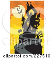 Royalty Free RF Clipart Illustration Of A Path Leading To A Haunted Mansion On A Hilltop Under A Full Moon With Bats Over Orange