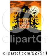 Royalty Free RF Clipart Illustration Of A Haunted Mansion With Bats And A Full Moon Over Happy Halloween Text 4