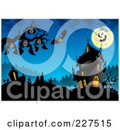 Royalty Free RF Clipart Illustration Of Bats Hanging From A Tree Branch Over A Cemetery By A Haunted House On Blue