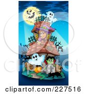 Royalty Free RF Clipart Illustration Of A Bats In Front Of A Full Moon Over A Witch Ghosts And Vampire At A Haunted House