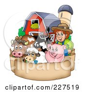 Royalty Free RF Clipart Illustration Of A Farmer By His Livestock Barn And Silo Over A Blank Parchment Banner