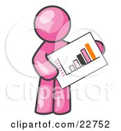 Pink Man Holding A Bar Graph Displaying An Increase In Profit