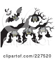 Royalty Free RF Clipart Illustration Of Vampire Bats Hanging From A Tree Branch