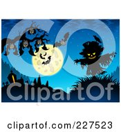 Royalty Free RF Clipart Illustration Of Bats Hanging From A Tree Branch Over A Scarecrow On Blue by visekart