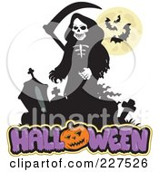 Royalty Free RF Clipart Illustration Of A Grim Reaper Over Halloween Text by visekart