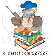 Royalty Free RF Clipart Illustration Of A Professor Owl On A Stack Of Books Using A Pointer