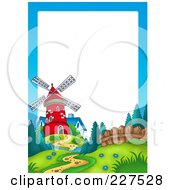 Royalty Free RF Clipart Illustration Of A Path Leading To A Red Windmill By A Blue House Border Frame by visekart