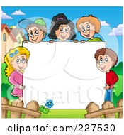 Royalty Free RF Clipart Illustration Of A Happy Children Holding Up A Blank Sign Board Bordered By Houses And A Fence