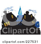 Royalty Free RF Clipart Illustration Of A Village Skyline With Illuminated Windows by visekart
