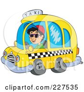 Royalty Free RF Clipart Illustration Of A Young Man Driving A Taxi Cab by visekart