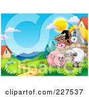 Royalty Free RF Clipart Illustration Of A Muddy Pig And Sheep By A Fence With A Cow And Horse