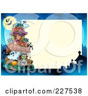 Royalty Free RF Clipart Illustration Of A Haunted House Halloween Border Frame Around Beige Space