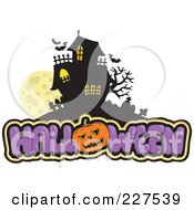 Royalty Free RF Clipart Illustration Of A Full Moon With Vampire Bats Over Halloween Text