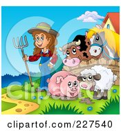 Royalty Free RF Clipart Illustration Of A Muddy Pig Sheep And Farmer By A Fence With A Cow And Horse