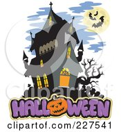 Royalty Free RF Clipart Illustration Of A Full Moon With Vampire Bats And A Bare Tree Over Halloween Text