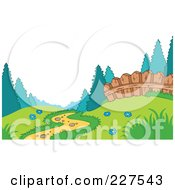 Royalty Free RF Clipart Illustration Of A Foot Path Leading Through A Meadow Near A Fence At The Edge Of A Forest