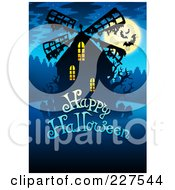 Royalty Free RF Clipart Illustration Of A Happy Halloween Greeting Under A Creepy Windmill Bats And A Full Moon On Blue by visekart