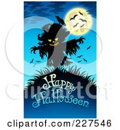 Royalty Free RF Clipart Illustration Of A Creepy Scarecrow And Bats Over Happy Halloween Text On Blue by visekart