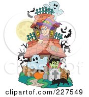 Royalty Free RF Clipart Illustration Of A Haunted House With Ghosts A Witch Vampire Black Cat And Bats by visekart