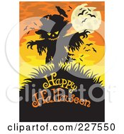 Royalty Free RF Clipart Illustration Of A Scarecrow Over Happy Halloween Text On Orange by visekart
