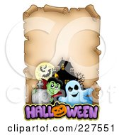 Royalty Free RF Clipart Illustration Of An Aged Parchment Page With A Ghost Vampire Bats And A Haunted House And Halloween Text