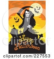 Royalty Free RF Clipart Illustration Of A Grim Reaper And Headstones Over Happy Halloween Text On Orange