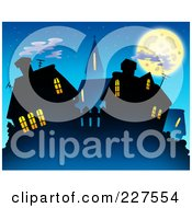 Royalty Free RF Clipart Illustration Of A Village Skyline With Lit Windows At Night by visekart