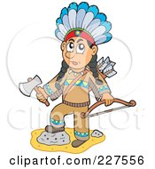 Royalty Free RF Clipart Illustration Of A Native American Man Holding A Hatchet And Bow by visekart