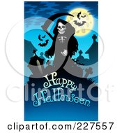Creepy Grim Reaper And Bats Over Happy Halloween Text On Blue