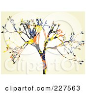 Royalty Free RF Clipart Illustration Of A Colorful Circle Pattern Tree Over Beige by mheld