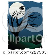 Royalty Free RF Clipart Illustration Of A Raven On A Bare Tree Against A Full Moon In A Hilly Landscape Bordered With White Grunge by mheld