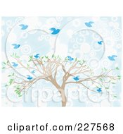 Royalty Free RF Clipart Illustration Of A Tree With Blue Birds Over Blue And White Circles by mheld