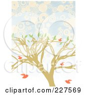Royalty Free RF Clipart Illustration Of A Tree With Pink Birds Over Blue And White Circles by mheld